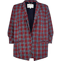 Red tartan lightweight crepe blazer