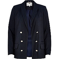 Navy pinstripe relaxed fit blazer