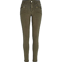 Khaki pocket detail Molly biker jeggings