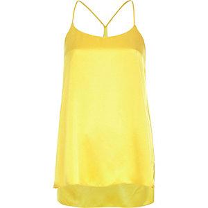 Yellow silky longline cami