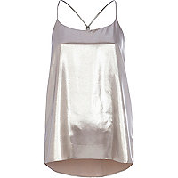 Silver metallic longline cami top