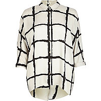 Cream check print split back shirt
