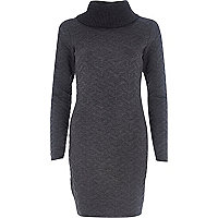 Grey turtle neck jacquard knit dress