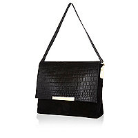 Black slouchy leather and suede bag