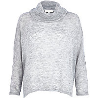Light grey roll neck boxy jumper