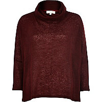 Dark red turtle neck crop jumper