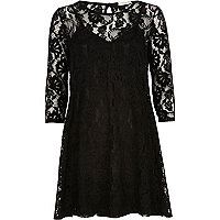 Black lace swing dress