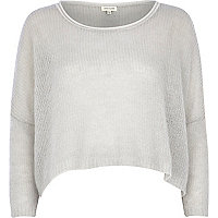 Grey mohair knit boxy crop jumper