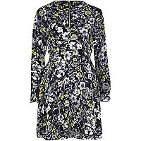 Black floral print fit and flare dress