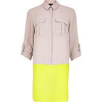 Grey colour block crepe shirt dress