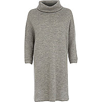 Grey oversize cowl neck knitted dress