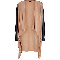 Beige leather-look sleeve waterfall cardigan