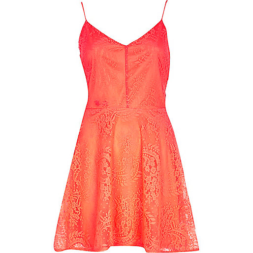 Coral lace cami fit and flare dress