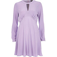 Lilac cut out fit and flare dress