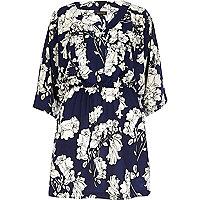 Blue floral print kimono dress