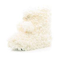 Cream fluffy borg boots