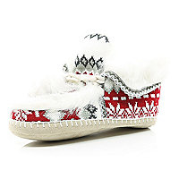 Cream fair isle faux fur lined moccasin boots
