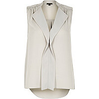 Grey waterfall frill sleeveless blouse