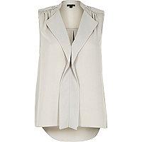 Grey waterfall frill sleeveless blouse