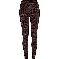 Dark red dogtooth leggings