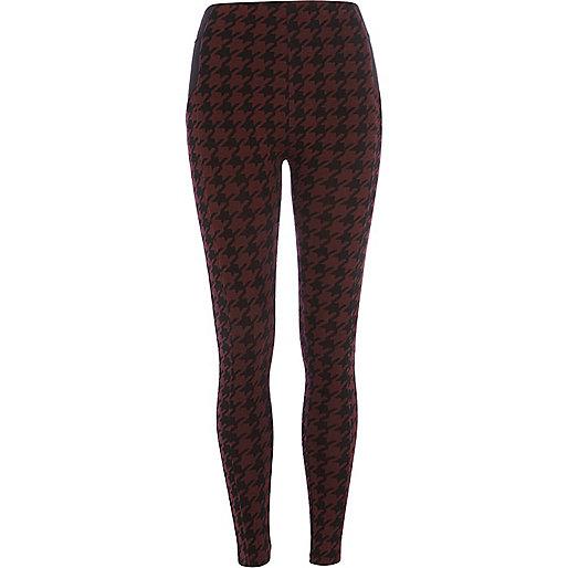 Dark red dogtooth leggings