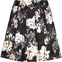 Black floral smudge print mini skirt