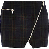 Dark green tartan asymmetric zip mini skirt