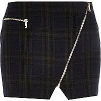 Dark green tartan asymmetric zip mini skirt