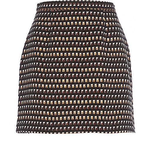 Bronze stud pattern mini skirt