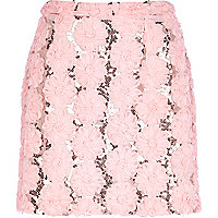 Light pink 3D flower mini skirt