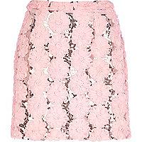 Light pink 3D flower mini skirt