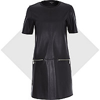 Black leather-look zip trim t-shirt dress