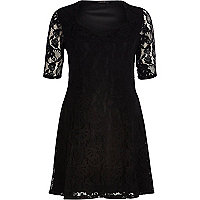 Black lace sweetheart fit and flare dress