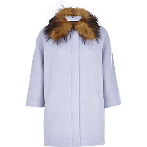 Blue faux fur collar oversized wool coat
