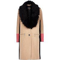 Brown colour block midi coat