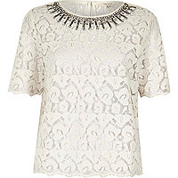 Cream embellished collar lace top
