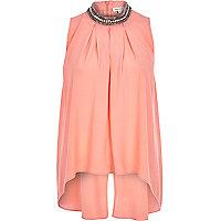 Pink embellished collar top