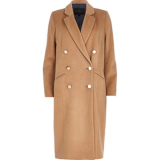 Camel double breasted midi coat