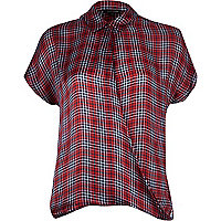 Red silk check wrap front short sleeve shirt