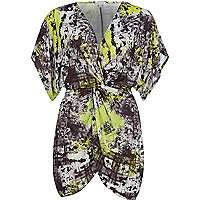Lime abstract print knot front tunic