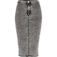 Black acid wash denim pencil skirt