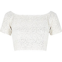 Gold Chelsea Girl shimmer crop top
