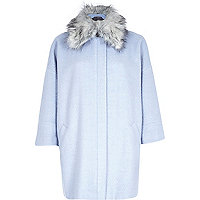 Light blue faux fur collar oversized coat