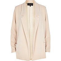 Cream textured jersey blazer