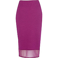 Purple mesh hem textured pencil skirt