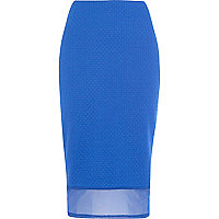 Blue mesh hem textured pencil skirt
