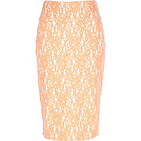 Light orange lace pencil skirt