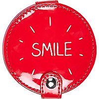 Red smile compact mirror