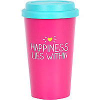 Pink happiness lies within travel mug