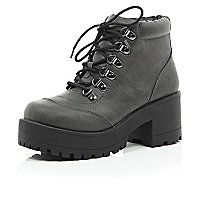 Grey chunky leather-look hiker boots
